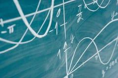 Trigonometry. School Chalkboard Function graphs Math lesson. Trigonometry. School Chalkboard Function graphs Math lesson royalty free stock photography
