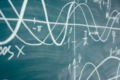 Trigonometry. School Chalkboard Function graphs Math lesson. Trigonometry. School Chalkboard Function graphs Math lesson stock photography