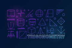 Trigonometry vector colorful illustration or banner. Trigonometry and math colorful illustration or banner in line style on dark background Royalty Free Stock Photos