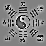 Trigrams. Yin Yang and the eight trigrams from the bagua Stock Photo