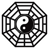 Trigrams Yin Yang Black de Bagua et illustration blanche de vecteur Images libres de droits