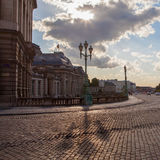 Trihead lamps and copper street in place royale Royalty Free Stock Photography