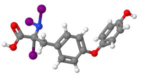 Triiodothyronine (T3) molecular model Royalty Free Stock Images
