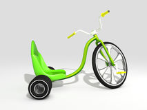 Trike. 3D rendered green trike  on white background Royalty Free Stock Photos
