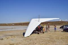 Trike on the salt lake. Preparing for flight. Royalty Free Stock Images