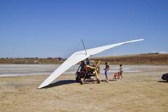 Trike on the salt lake. Preparing for flight. Stock Photo
