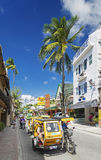 Trike tricicle moto local  taxi on boracay island main road in p Royalty Free Stock Photo