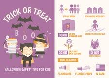 Trikowe lub funda Halloween bezpieczeństwa porady Obrazy Royalty Free