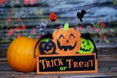 Trikowy lub funda, bania - Halloween Zdjęcia Stock