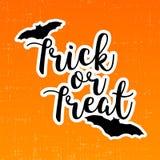 Trikowy lub funda Halloween kartka z pozdrowieniami z nietoperzami Fotografia Royalty Free