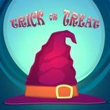 Trikowy lub funda, Halloween przyjęcie z czarownica kapeluszem Zdjęcie Stock