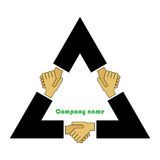 Trilateral cooperation. Symbol of the tripartite alliance and negotiations Stock Photo