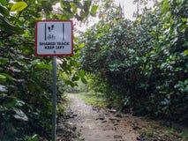 A trilha compartilhada mantém-se esquerdo O pedestre e o ciclista compartilharam do sinal do trajeto, Singapura fotografia de stock