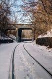 Trilha de estrada de ferro no inverno Fotografia de Stock