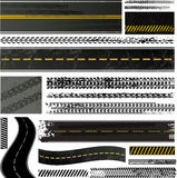 Trilha do pneu e coleção da estrada Fotografia de Stock