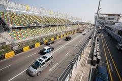 Trilha e assentos espectadores para o Macau Prix grande. fotografia de stock royalty free