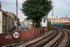 Trilha e ruas do trem Fotografia de Stock Royalty Free