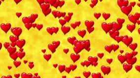 Trilha horizontal de corações vermelhos no fundo abstrato do ouro gráfico do movimento Laço sem emenda ilustração do vetor