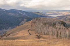 Trilha nas montanhas na queda, rochas, floresta fotos de stock