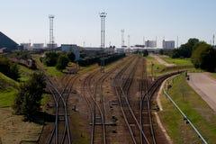 Trilha Railway à porta Foto de Stock