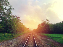 Trilha railway do trem Imagens de Stock