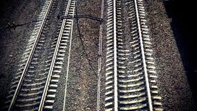 Trilha Railway na noite Imagem de Stock
