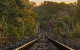 Trilha Railway perto da estação de Bakov nad Jizerou Fotos de Stock Royalty Free