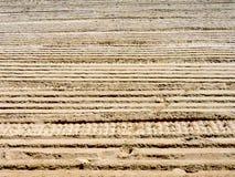 Trilhas com nervuras da roda na areia seca Fotos de Stock Royalty Free