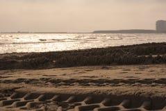 Trilhas da roda na praia Imagens de Stock Royalty Free
