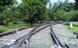 Trilhas de estrada de ferro com interruptor da estrada de ferro Imagem de Stock