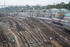 Trilhas de estrada de ferro em Irkutsk, Rússia Fotografia de Stock