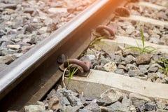 Trilhas de estrada de ferro em Tailândia Fotos de Stock Royalty Free