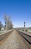 Trilhas de estrada de ferro gêmeas   foto de stock royalty free
