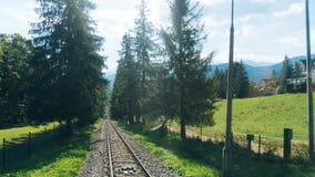 Trilhas de estrada de ferro para o elevador da montanha em Gubalowka Imagem de Stock Royalty Free