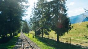 Trilhas de estrada de ferro para o elevador da montanha em Gubalowka Foto de Stock