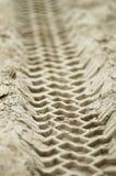 Trilhas de veículo na areia fotografia de stock royalty free