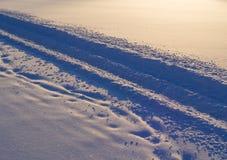 Trilhas do carro de neve na neve Fotos de Stock Royalty Free