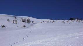 Trilhas do esqui de Backcountry no inverno profundo em um lado de outra maneira sem tocar da montanha Foto de Stock Royalty Free