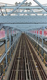 Trilhas do metro da ponte de Williamsburg Imagens de Stock Royalty Free