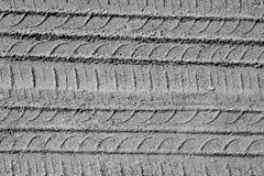 Trilhas do pneu de automóvel na estrada arenosa em preto e branco Fotografia de Stock Royalty Free