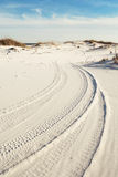 Trilhas do pneu em dunas de areia da praia no crepúsculo Fotos de Stock