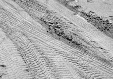 Trilhas do pneumático na areia em preto e branco Fotografia de Stock