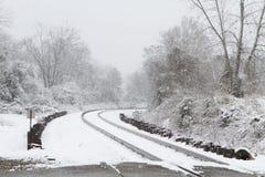 Trilhas do trem cobertas na neve Fotografia de Stock Royalty Free