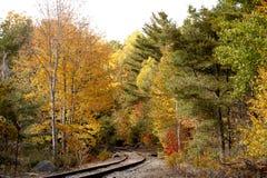 Trilhas do trem com a cor da queda fotos de stock