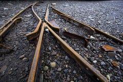 Trilhas do trem de carvão no ártico Fotos de Stock