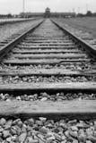 Trilhas do trem em Auscwitz-Birkenau, Polônia fotos de stock