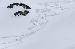 trilhas dos esquiadores Imagem de Stock Royalty Free