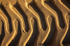 Trilhas gravadas da máquina escavadora da fuga na areia molhada Textura da areia Imagens de Stock Royalty Free