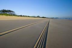 Trilhas na praia Fotografia de Stock Royalty Free