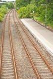 Trilhas railway gêmeas Fotografia de Stock